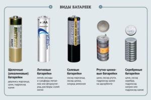 Пять видов батареек