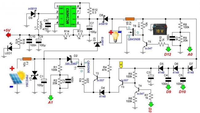 схема контроллера заряда от солнечной батареи