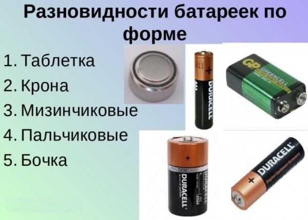 разновидность батареек по форме