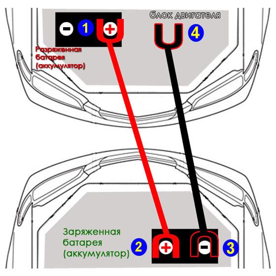 подключение проводов двух аккумуляторов