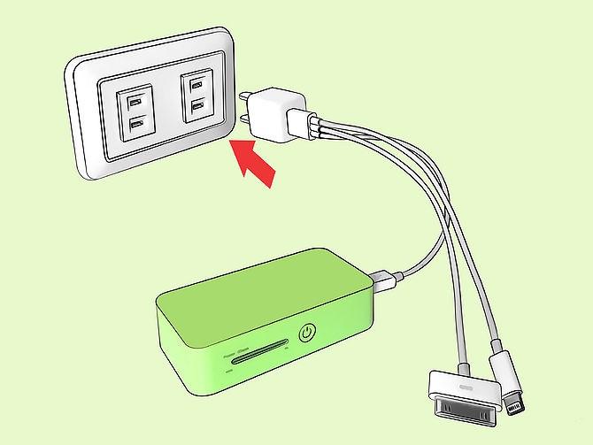 Зарядка Power Bank от сети через адаптер
